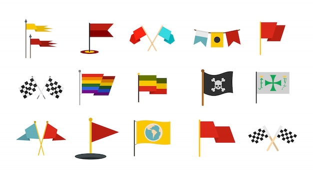 Zestaw ikon flag. płaski zestaw flaga wektor zbiory ikon na białym tle Premium Wektorów