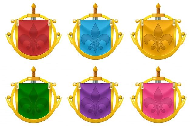 Zestaw Ikon Flaga Rycerza Z Metalową Dekoracją Premium Wektorów