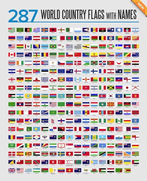 Zestaw Ikon Flagi świata Premium Wektorów