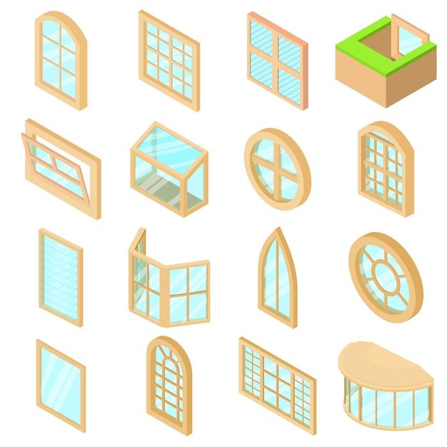 Zestaw ikon formularzy okiennych. izometryczne ilustracja 16 ikon form okien ustawić ikony wektorowe dla sieci web Premium Wektorów