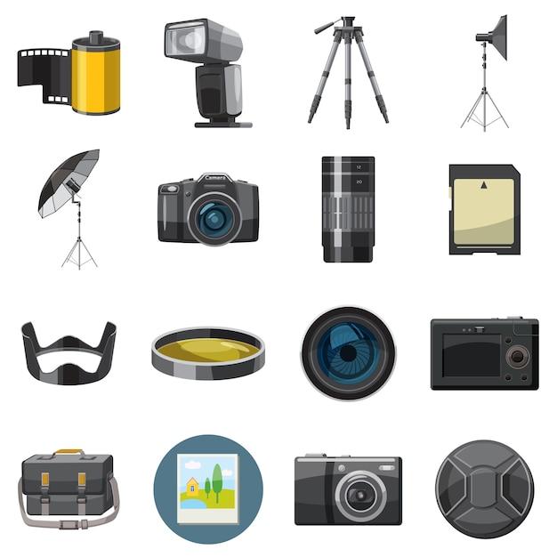 Zestaw ikon fotografii, styl catoon Premium Wektorów
