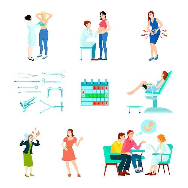 Zestaw ikon ginekologii kolorowy ginekolog płaski i na białym tle z kobietą w recepcji lekarzy Darmowych Wektorów