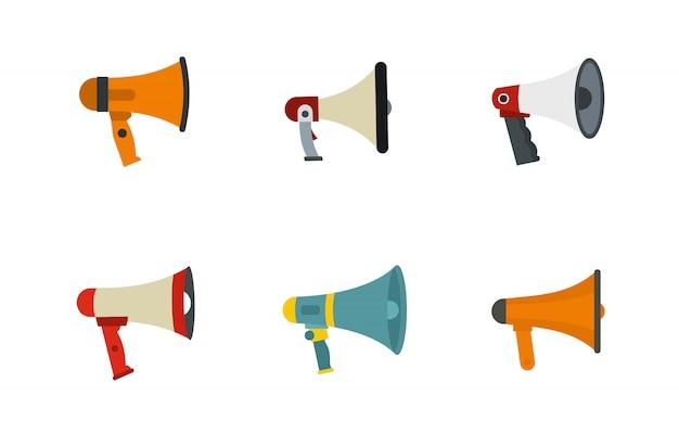Zestaw ikon głośnika dłoni. płaski zestaw ręcznie głośnik ikony kolekcja wektor na białym tle Premium Wektorów
