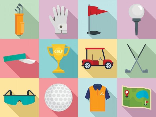 Zestaw ikon golfa, płaski Premium Wektorów