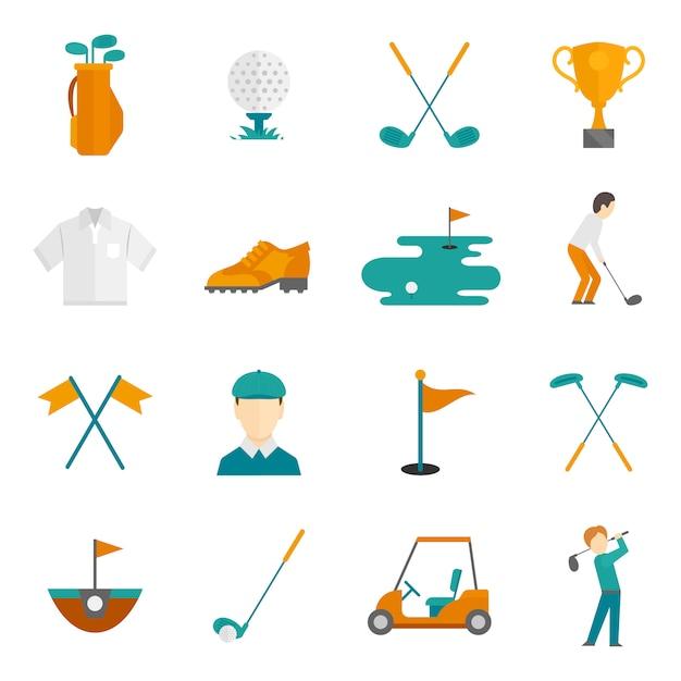 Zestaw ikon golfa Premium Wektorów