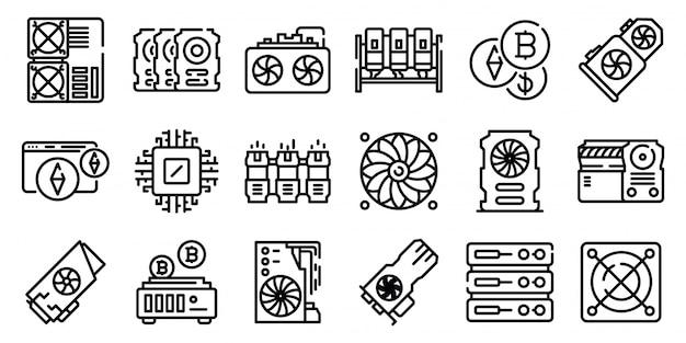 Zestaw ikon gospodarstwa górniczego, styl konspektu Premium Wektorów