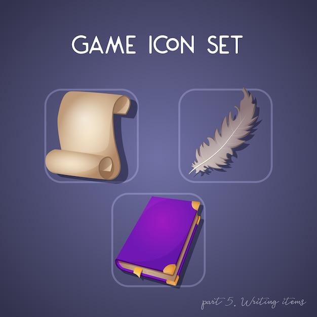 Zestaw ikon gry w stylu kreskówki. pisanie przedmiotów: przewiń, książki i pióro. jasny design dla interfejsu użytkownika aplikacji. Premium Wektorów