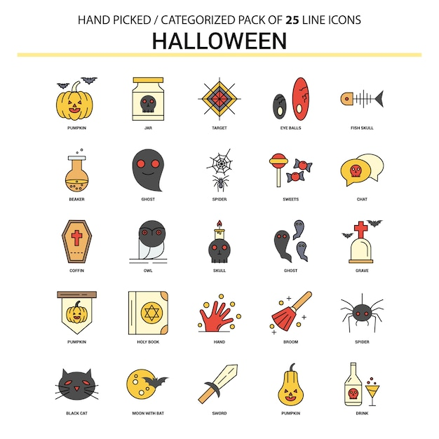 Zestaw ikon halloween flat line Darmowych Wektorów