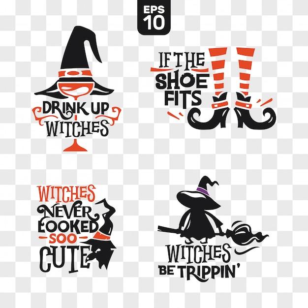 Zestaw ikon halloween sylwetki z cytatem do dekoracji partii i cięcia naklejki Premium Wektorów