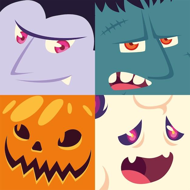 Zestaw Ikon Halloween Z Głowami Wampira, Frankensteina, Wilkołaka, Dyni Premium Wektorów