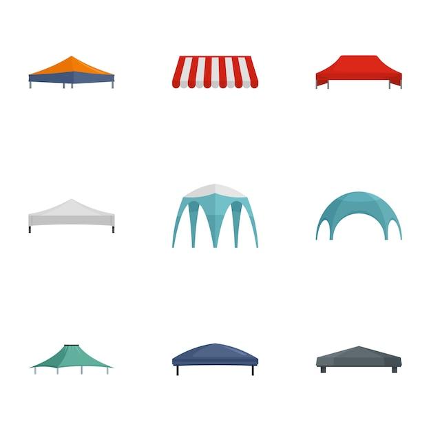Zestaw ikon handlowych namiot, płaski Premium Wektorów