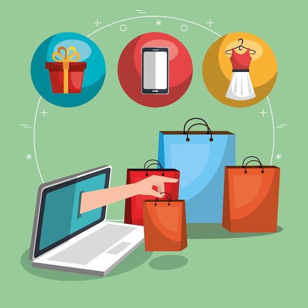 Zestaw ikon handlu elektronicznego Darmowych Wektorów