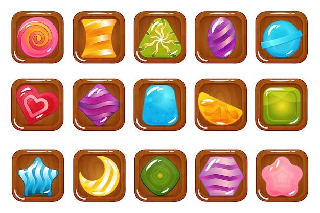 Zestaw Ikon Hard Cadies, Lollipop I Jelly Premium Wektorów