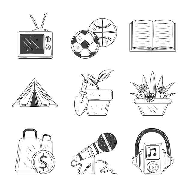 Zestaw Ikon Hobby, Sport, Telewizja, Muzyka, Zakupy W Ogrodzie I Czytaj Ilustrację Stylu Szkicu Premium Wektorów