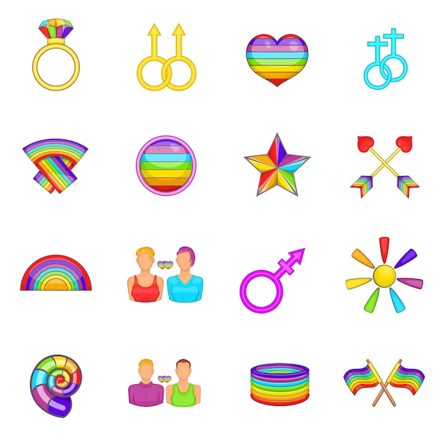 Zestaw Ikon Homoseksualnych Premium Wektorów