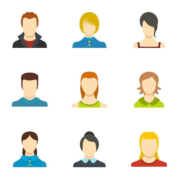 Zestaw Ikon Identyczności. Płaski Zestaw 9 Ikon Identyczności Premium Wektorów
