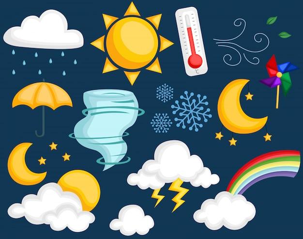 Zestaw ikon ikony pogody Premium Wektorów