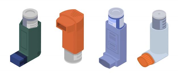 Zestaw Ikon Inhalatora, Styl Izometryczny Premium Wektorów