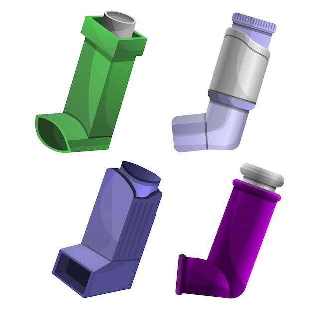 Zestaw Ikon Inhalatora, Stylu Cartoon Premium Wektorów