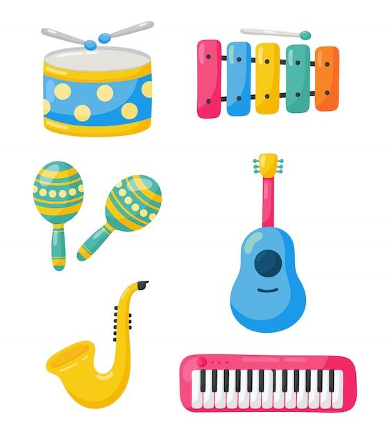 Zestaw ikon instrumentów muzycznych na białym tle Premium Wektorów