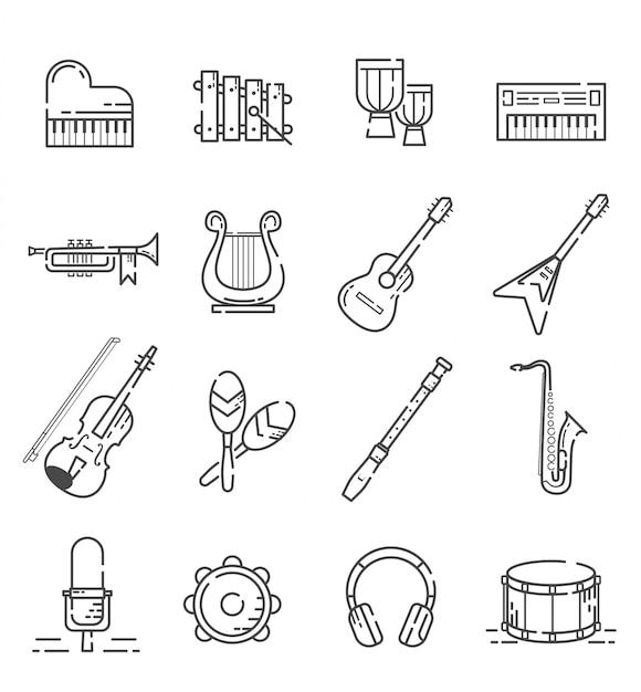 Zestaw ikon instrumentów muzycznych w stylu konspektu Premium Wektorów