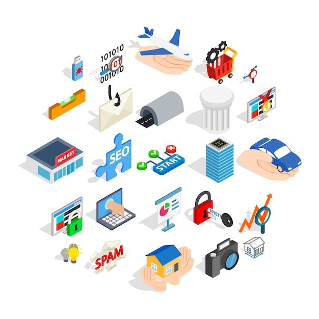 Zestaw ikon interfejsu sieci web, izometryczny styl Premium Wektorów