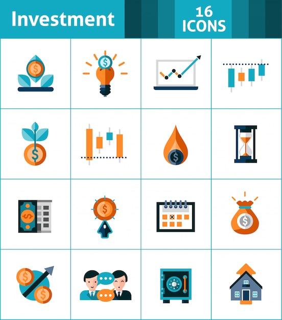 Zestaw ikon inwestycji Darmowych Wektorów