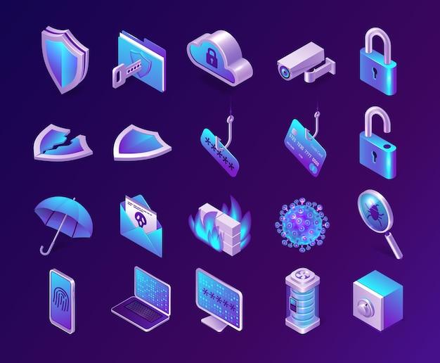 Zestaw Ikon Izometryczny Bezpieczeństwa Komputera Darmowych Wektorów