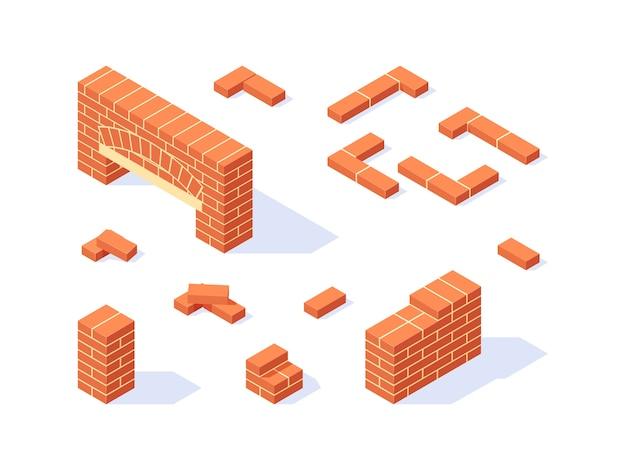 Zestaw Ikon Izometryczny Cegły Premium Wektorów