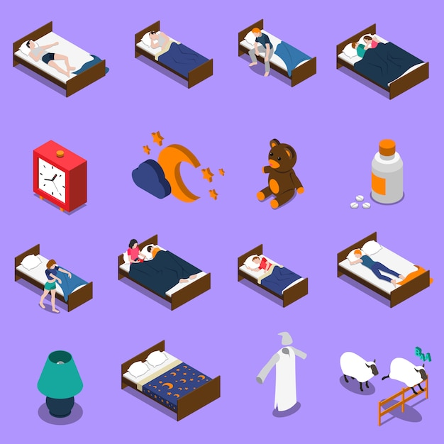 Zestaw Ikon Izometryczny Czas Snu Darmowych Wektorów