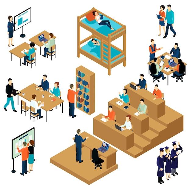 Zestaw Ikon Izometryczny Dla Studentów Edukacji Darmowych Wektorów