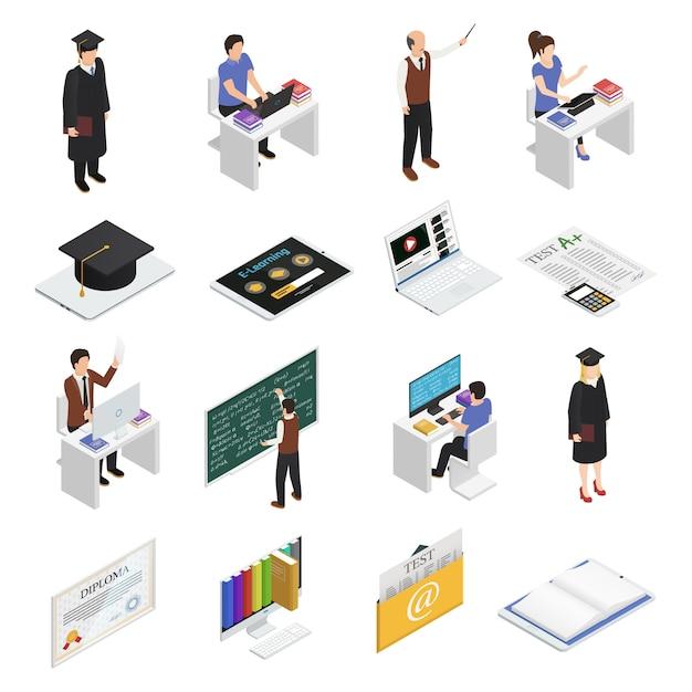 Zestaw ikon izometryczny e-learningu Darmowych Wektorów