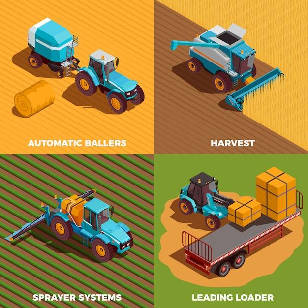 Zestaw Ikon Izometryczny Koncepcja Maszyn Rolniczych Darmowych Wektorów
