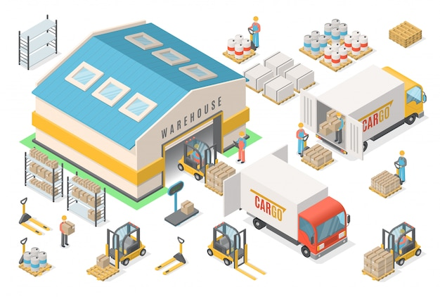 Zestaw Ikon Izometryczny Magazyn, Schemat, Logistyka Premium Wektorów