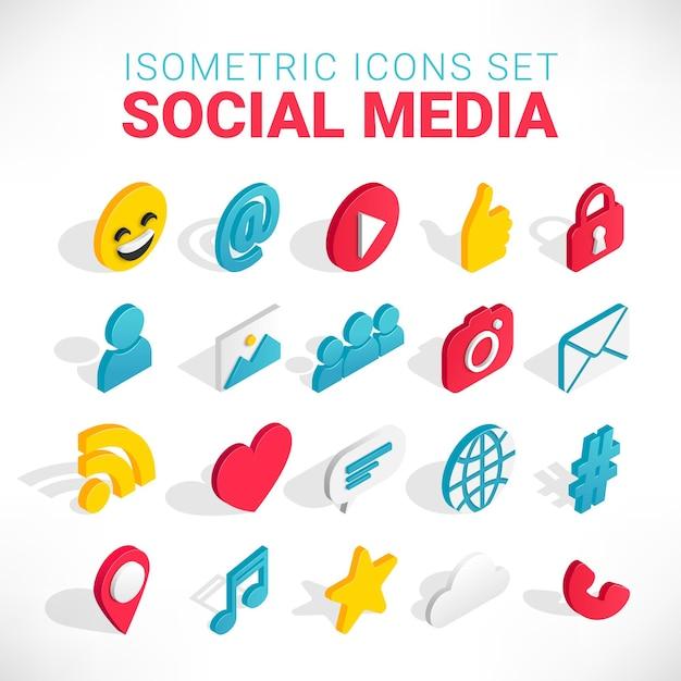 Zestaw Ikon Izometryczny Mediów Społecznościowych. 3d Z Czatem, Wideo, Pocztą, Telefonem, Hashtagiem, Np. Znakiem Muzycznym Premium Wektorów