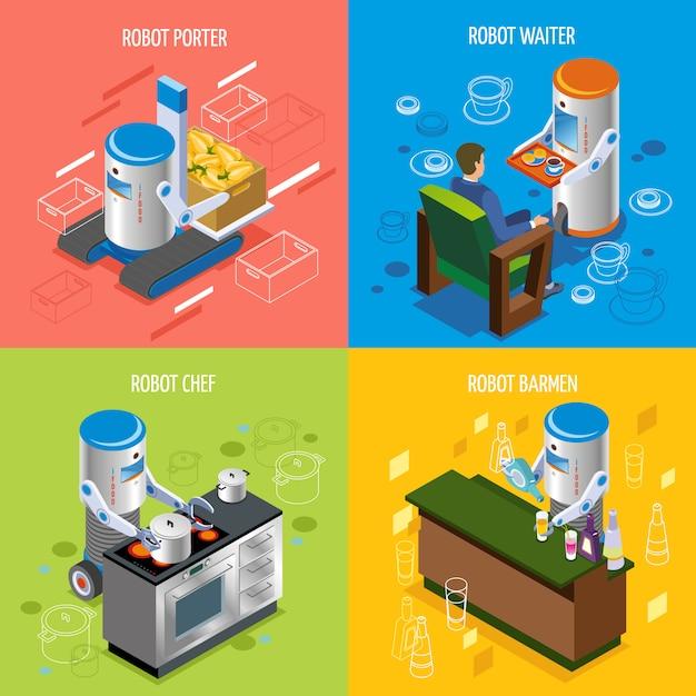 Zestaw Ikon Izometryczny Restauracja Robotów Darmowych Wektorów