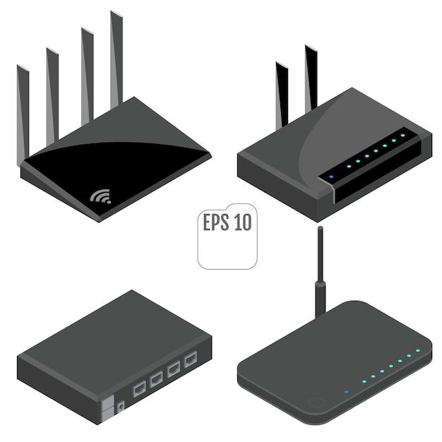 Zestaw Ikon Izometryczny Routera. Odosobniony Premium Wektorów
