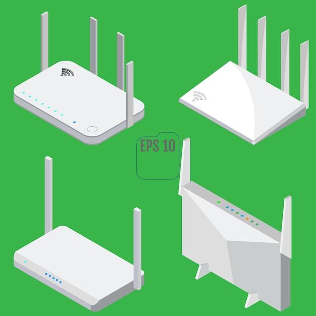 Zestaw Ikon Izometryczny Routera. Zestaw Ikon Routera Wifi Do Projektowania Stron Internetowych. Odosobniony Premium Wektorów