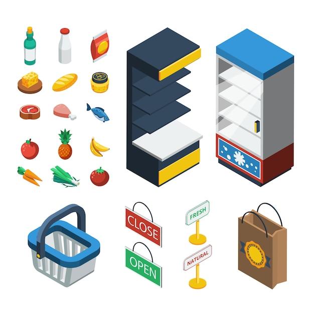 Zestaw Ikon Izometryczny Supermarketu Darmowych Wektorów