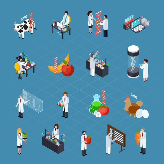 Zestaw Ikon Izometrycznych Związanych Z Gmo Darmowych Wektorów