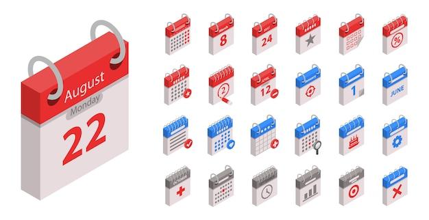 Zestaw Ikon Kalendarza. Izometryczny Zestaw Ikon Wektorowych Kalendarza Na Projektowanie Stron Internetowych Na Białym Tle Premium Wektorów