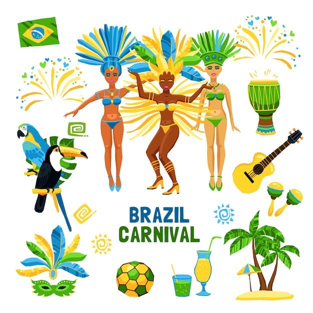 Zestaw ikon karnawał w brazylii na białym tle Darmowych Wektorów