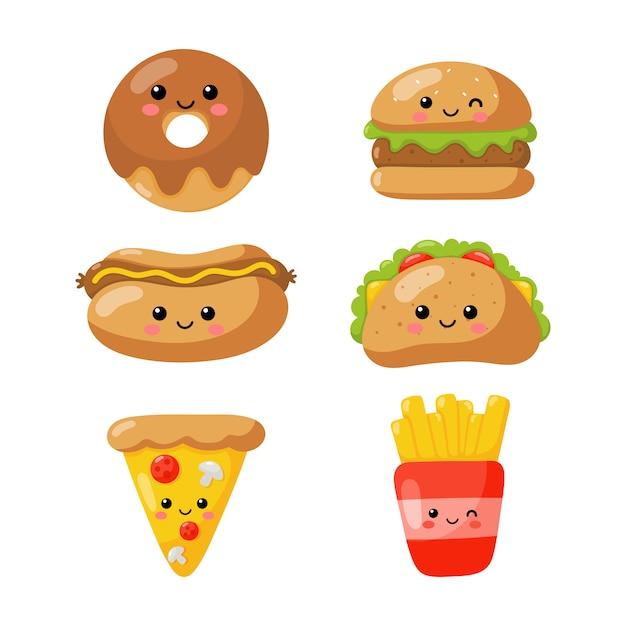 Zestaw Ikon Kawaii ładny Zabawny Styl Fast Food Na Białym Tle. Premium Wektorów