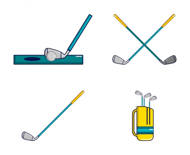 Zestaw ikon kij golfowy. kreskówka zestaw ikon kij golfowy zestaw na białym tle Premium Wektorów