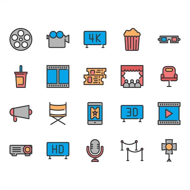 Zestaw ikon kina. Premium Wektorów