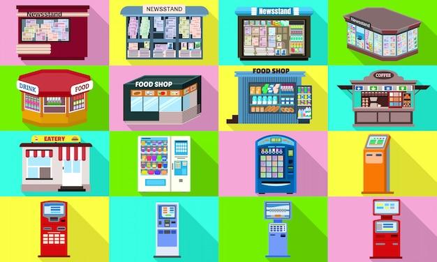 Zestaw Ikon Kiosku. Płaski Zestaw Wektora Kiosku Premium Wektorów