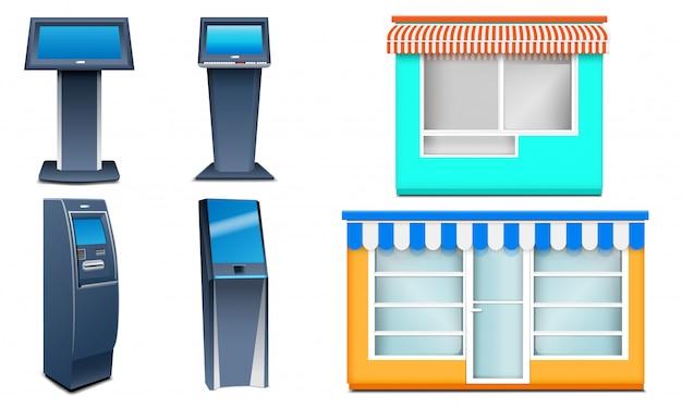 Zestaw Ikon Kiosku. Realistyczny Zestaw Ikon Wektorowych Kiosku Na Białym Tle Premium Wektorów