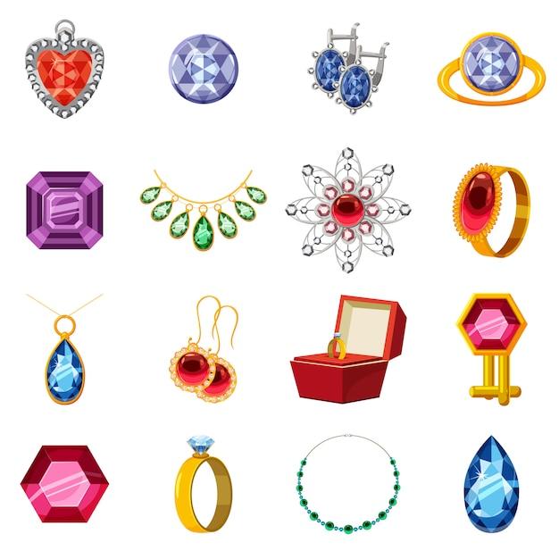 Zestaw ikon kolekcji biżuterii, stylu cartoon Premium Wektorów