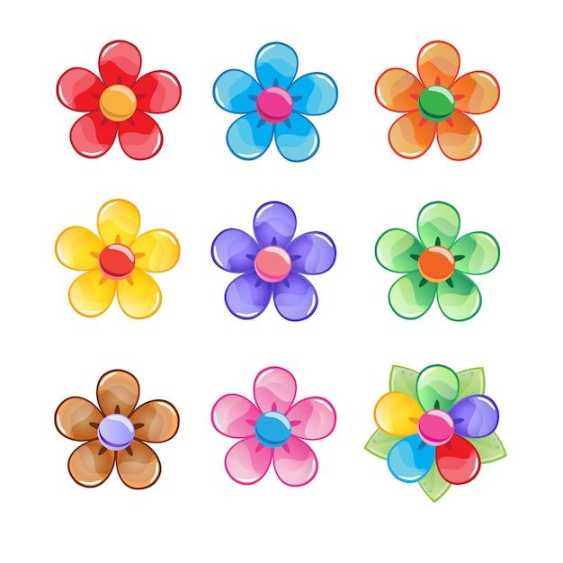 Zestaw ikon kolor kwiatów. Premium Wektorów