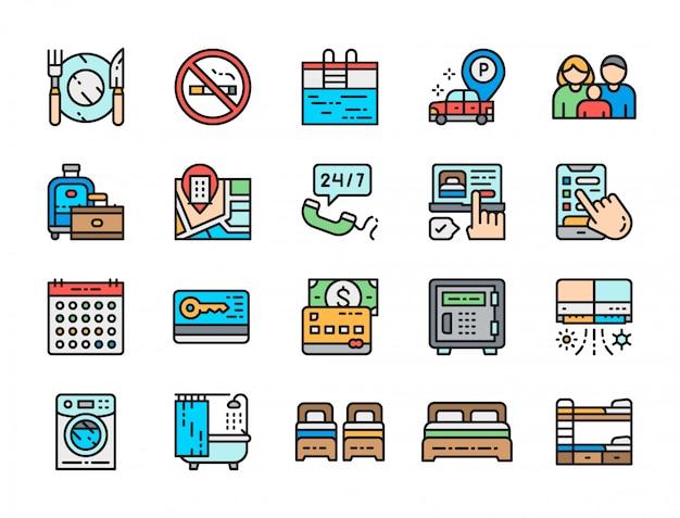 Zestaw Ikon Kolor Linii Usług Hotelowych. Sztućce, Wanna, Karta Kredytowa I Więcej. Premium Wektorów
